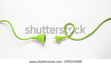 Green Power Cable isolated on white background - stock photo