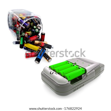 Green power farm,  charger aa accu,  batteries and renewable energy sources - stock photo