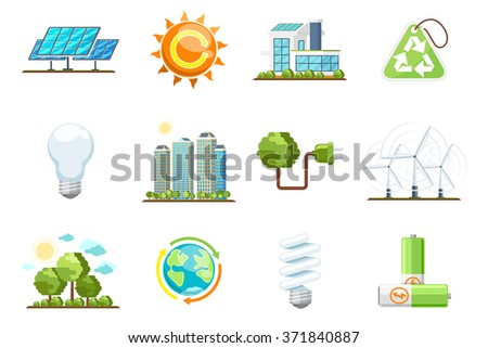 Green power icons