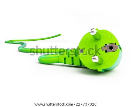 green power plug on a white background  - stock photo