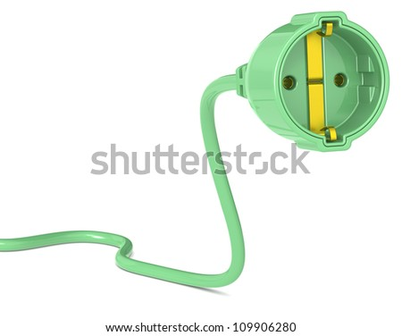 Green Power Plug. Power Cable with Plug Outlet. Female, Euro and Green.