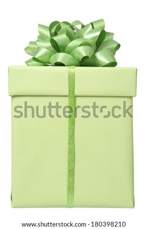 Green present on white background - stock photo