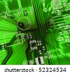 green printed-circuit board for electronic components - stock photo