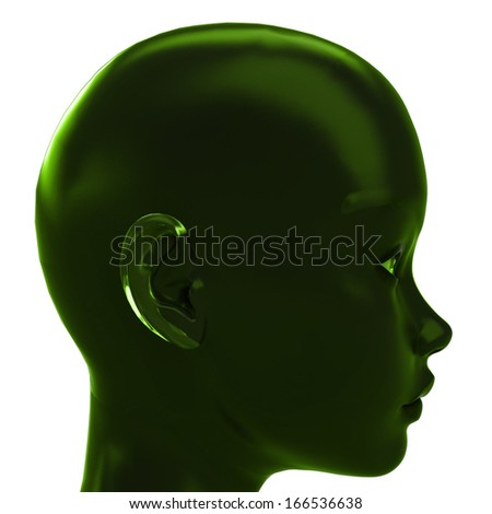 green profile view on human head with ecological ideas  illustration - stock photo