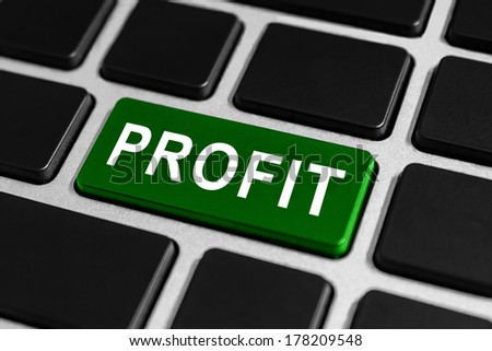 green profit button on keyboard, business financial concept - stock photo
