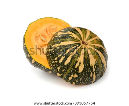 green pumpkin fruit isolated on white background - stock photo