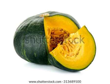 Green pumpkin isolated on the white background . - stock photo