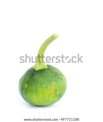 Green pumpkin on white background