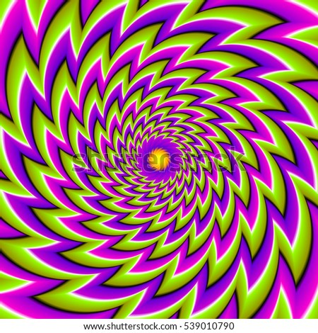 Green, purple and pink background with flower. Spin illusion.