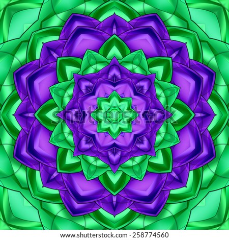 Green purple kaleidoscope for relax time