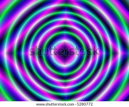 Green, purple, pink and blue psychedelic ripple