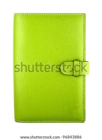 green purse on a white background - stock photo