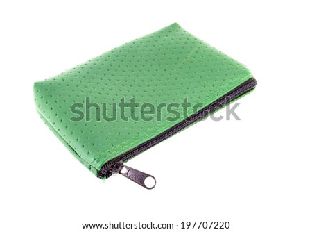 Green Purse on white background