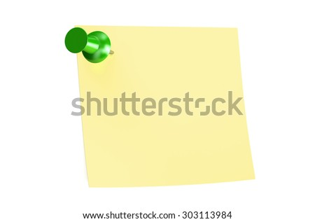 green push pin with blank sticky note - stock photo