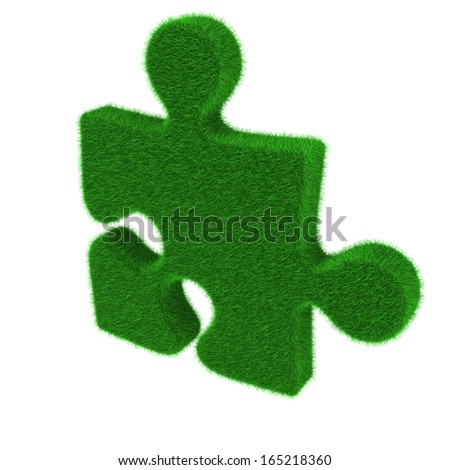 Green puzzle piece made of grass isolated on white background