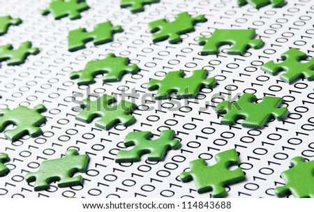 green puzzles and binary code