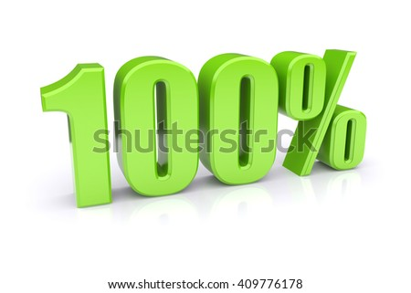 Green 100% quality icon. 3d rendered image.  - stock photo