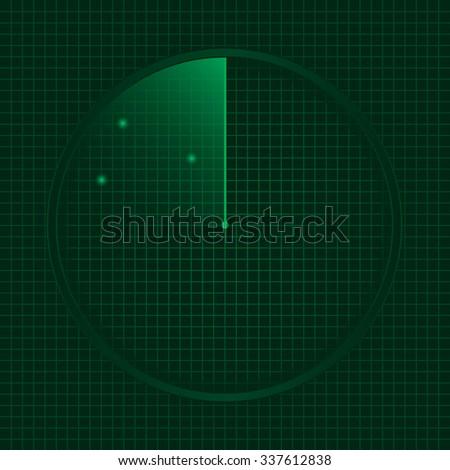 Green radar screen, technology concept. Raster illustration - stock photo