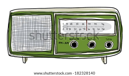 green radio vintage art painting