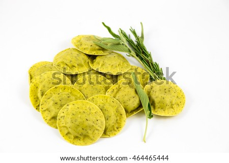 Green ravioli with sage and rosemary