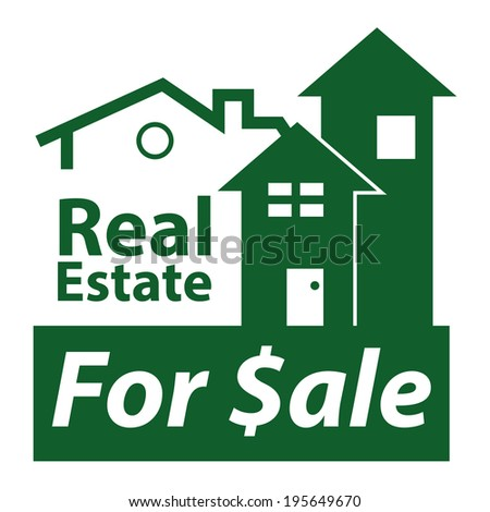 Green Real Estate for $ale Icon, Sign or Label Isolated on White Background  - stock photo