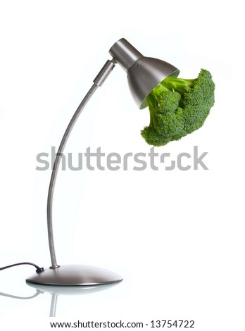 Green recyclable energy concept over white background