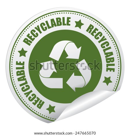 Green Recyclable Sticker, Icon or Label Isolated on White Background - stock photo