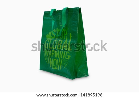 Green recycle bag isolated on white - stock photo