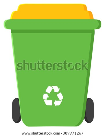 Green Recycle Bin Modern Flat Design. Raster Illustration Isolated On White Background