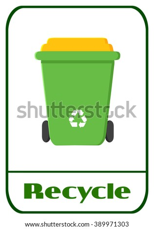 Green Recycle Bin Modern Flat Label Design With Text Recycle. Raster Illustration Isolated On White Background