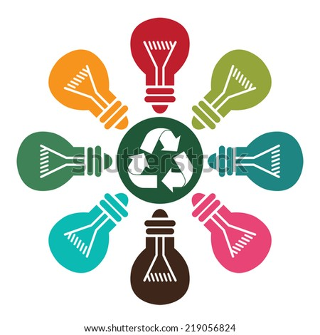 Green Recycle Icon With Colorful Light Bulb Around Isolated on White Background - stock photo