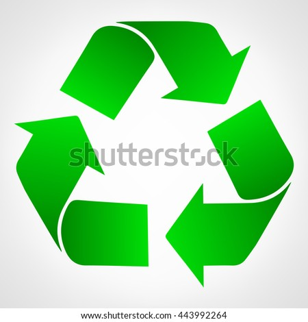 Green recycle raster illustration - stock photo