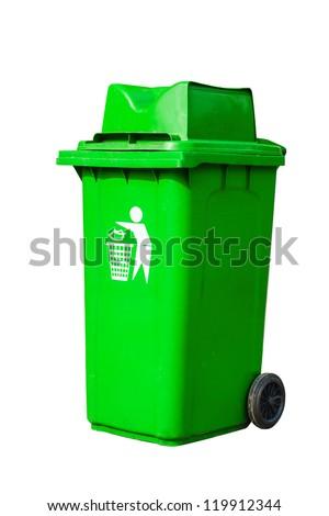 green recycling bin - stock photo
