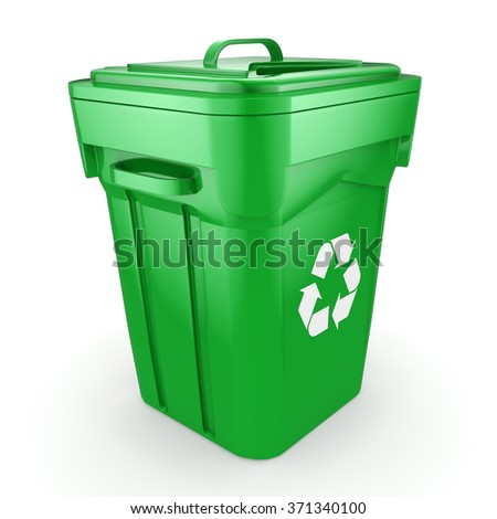 Green recycling bin isolated on white background - stock photo