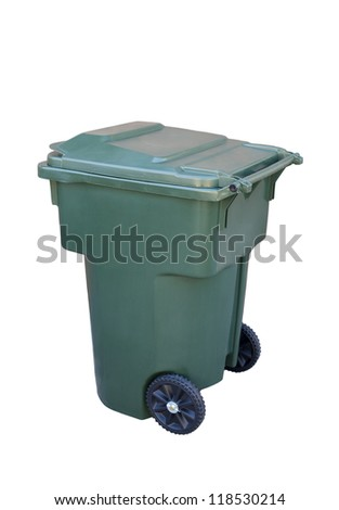 Green recycling container; isolated on white background - stock photo