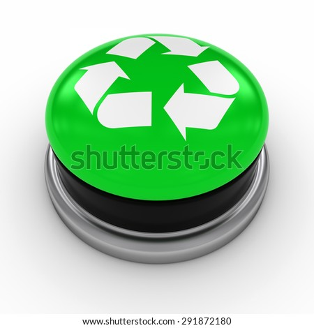 Green Recycling Symbol Button on White background - stock photo