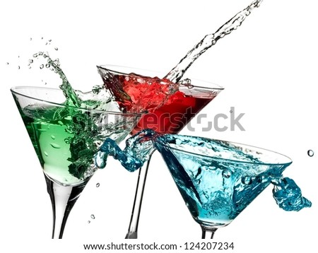 Green, red a nd blue cocktails splash - stock photo
