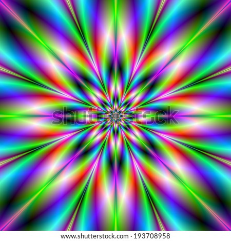Green Red and Blue Star / A digital abstract fractal image with an eight pointed star in green, blue and red. - stock photo