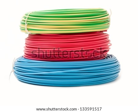 Green Red And Blue Wire Bundles Isolated On White