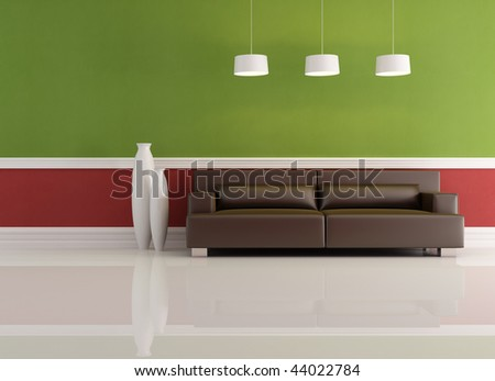 green red and brown living room - rendering
