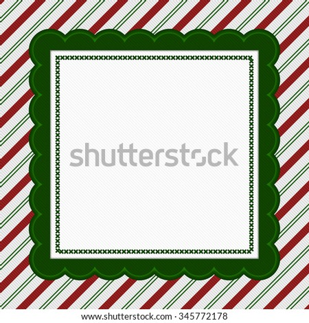 Green, Red and White Striped Candy Cane Striped with embroidery Background with copy space for your message