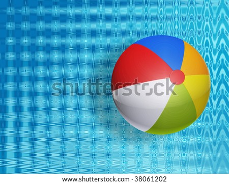 green, red, and yellow Colors ball on water. illustration