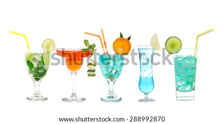 Green red blue alcohol margarita martini mojito cocktails collage composition with lemon and mint in cocktail glasses isolated on a white background - stock photo