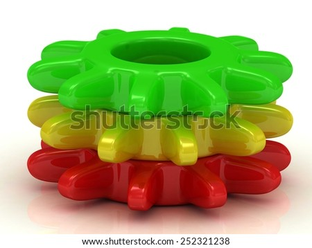 Green, red,   yellow gears . Work concept  - stock photo