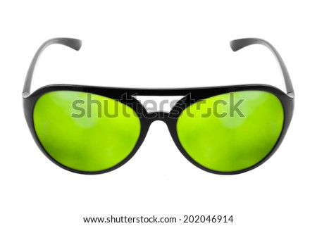 green reflection in sunglasses concept