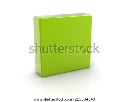 green reflective square on white background.