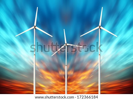 Green renewable energy concept - wind generator turbines in sky - stock photo