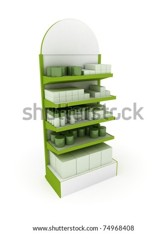Green Retail Stand - stock photo