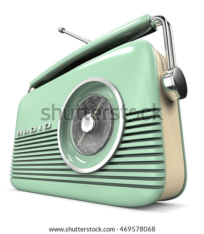 Green Retro Radio. Perspective view 3D render of a Classic Green Retro Style Radio. Plastic.