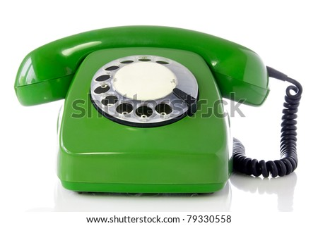 green retro telephone isolated on white background. - stock photo